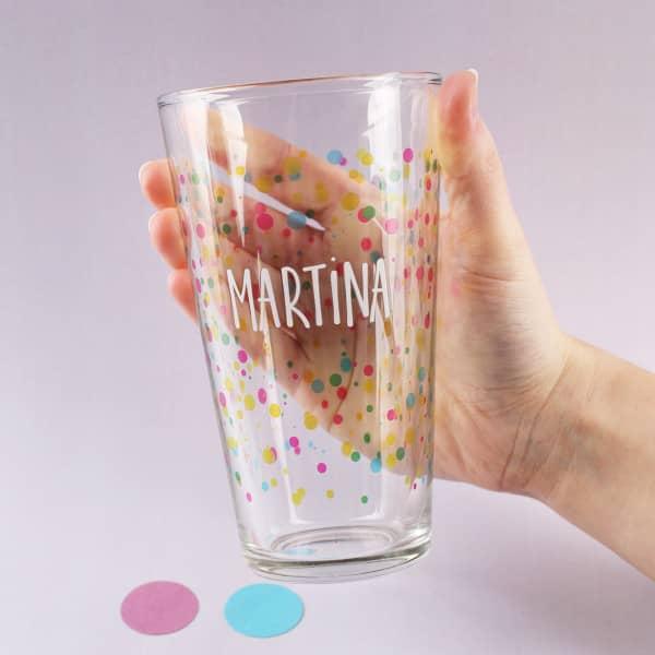 Trinkglas Konfetti kunterbunt mit deinem Namen