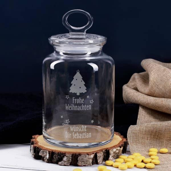 Glasdose mit Weihnachtsmotiv graviert