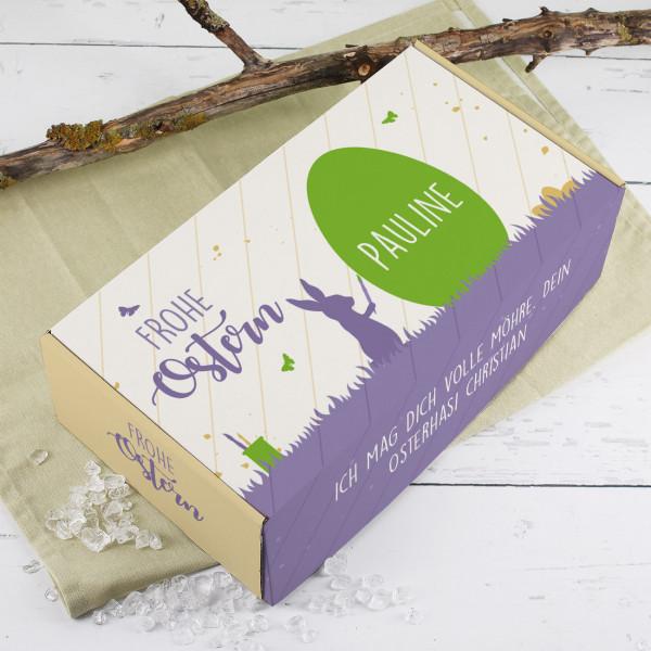 Frohe Ostern Geschenkverpackung mit Name und Wunschtext