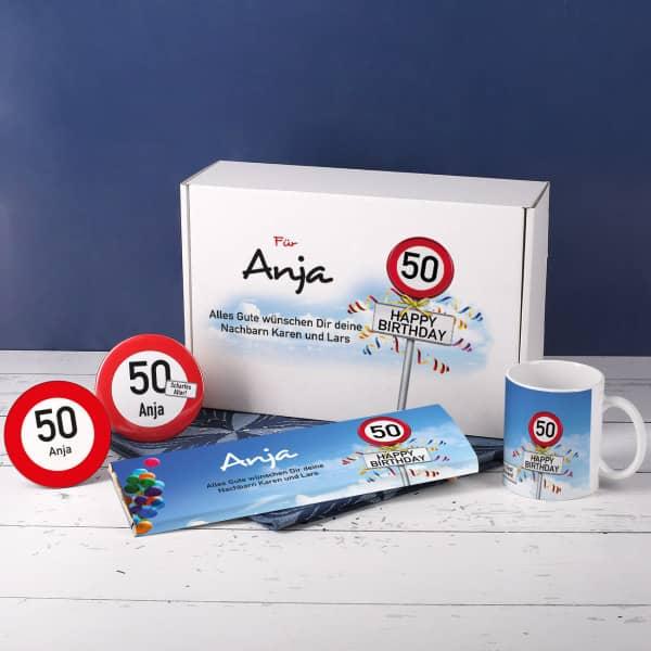 Geschenkset zum 50. Geburtstag mit Verkehrszeichen