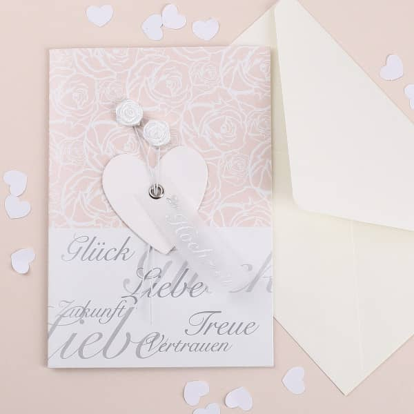 Glückwunschkarte zur Hochzeit mit Rosen und Herz Anhänger