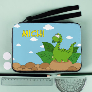 personalisierte Federmappe mit Dino-Motiv
