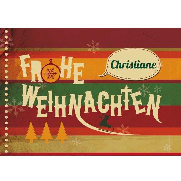 Persönliche Weihnachtsgrußkarte im Retrolook