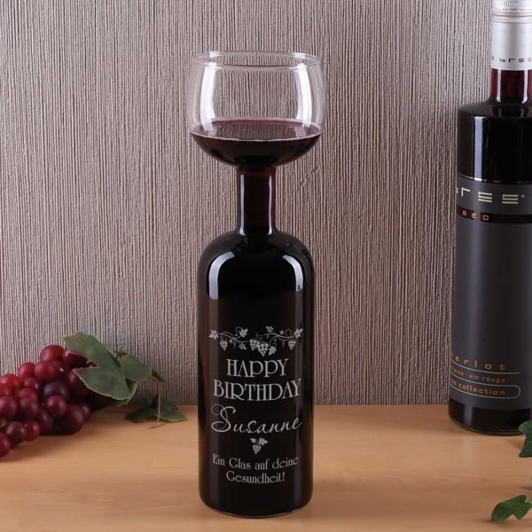 Weinflaschen-Glas Happy Birthday mit Name