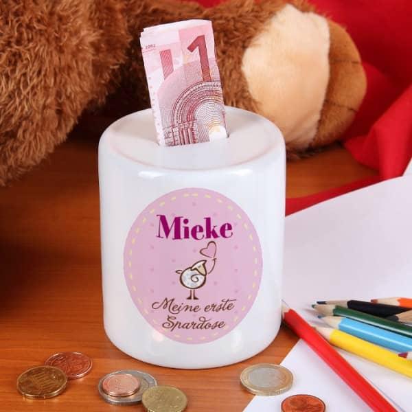 Erste Spardose für Mädchen mit Namensaufdruck