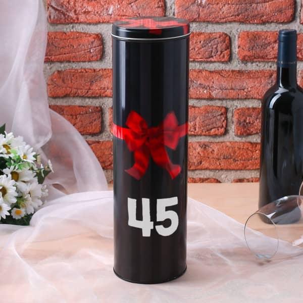Geschenkdose graviert mit Alter für Wein- oder Sektflaschen