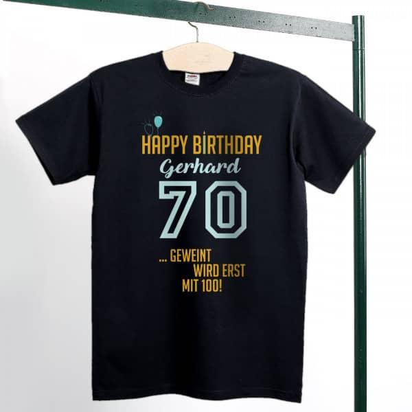 70 Geburtstags Shirt In Schwarz Mit Lustigem Spruch Und Name