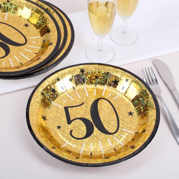 Pappteller in gold zum 50. Geburtstag