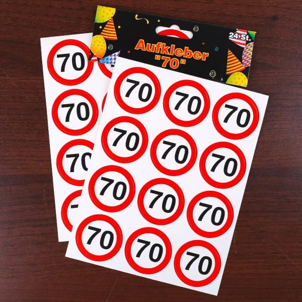 Verkehrszeichen Sticker zum 70. Geburtstag