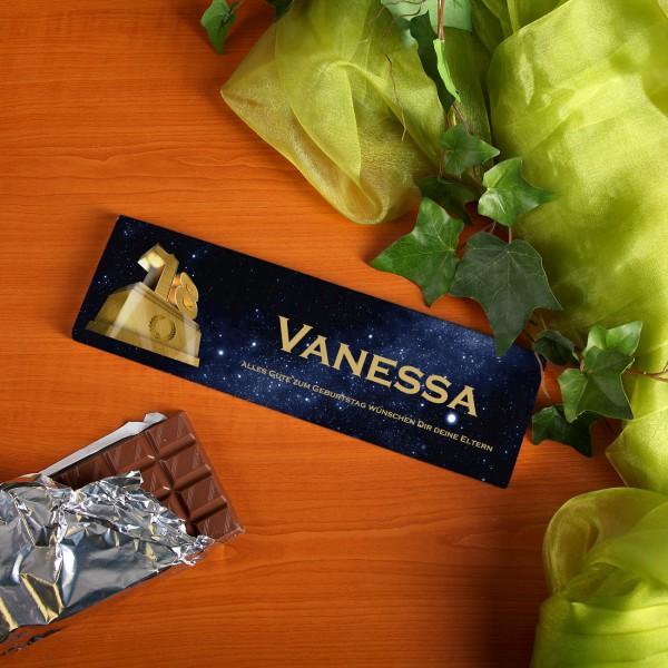 300g Schokolade zum 18. Geburtstag mit Text und Name