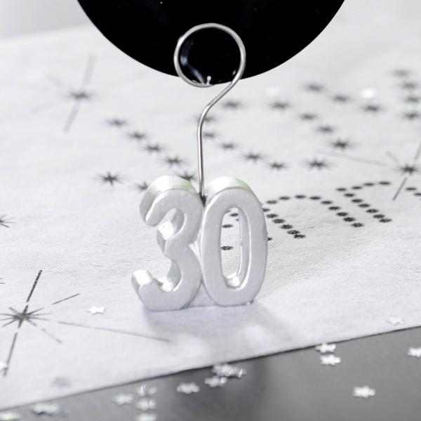 Tischkartenhalter zum 30. Geburtstag in Silber