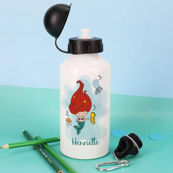 Trinkflasche mit kleiner Meerjungfrau und Name