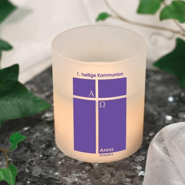 Kleine LED Kerze zur Kommunion für Mädchen in lila