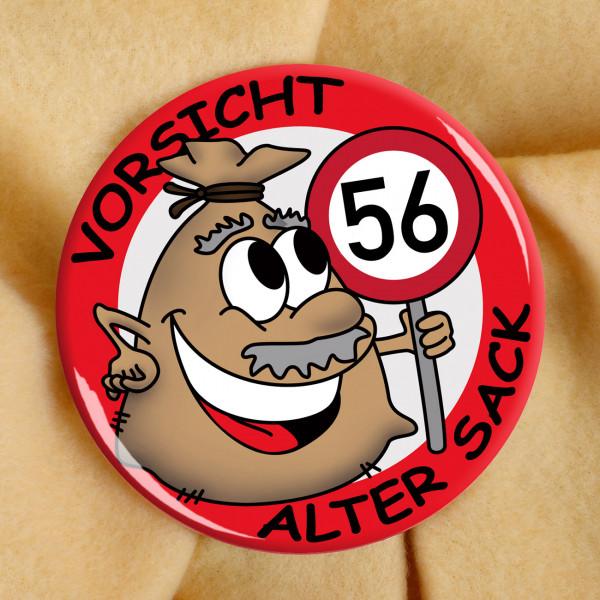 Alter Sack Button zum 56. Geburtstag