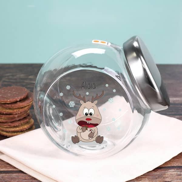 Keksdose aus Glas mit niedlichem Rentier und Ihrem Wunschnamen