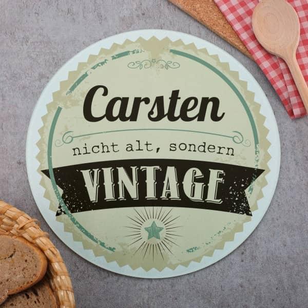 Glasbrettchen rund zum Geburtstag mit Vintage Motiv und Name