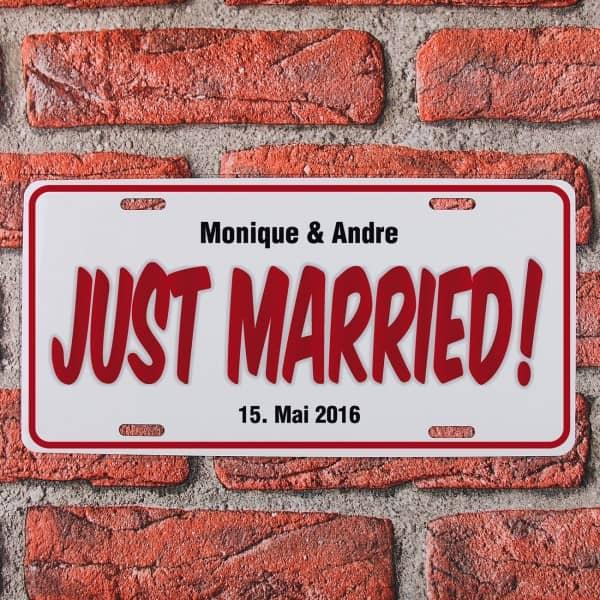 Personalisiertes Nummernschild Zur Hochzeit