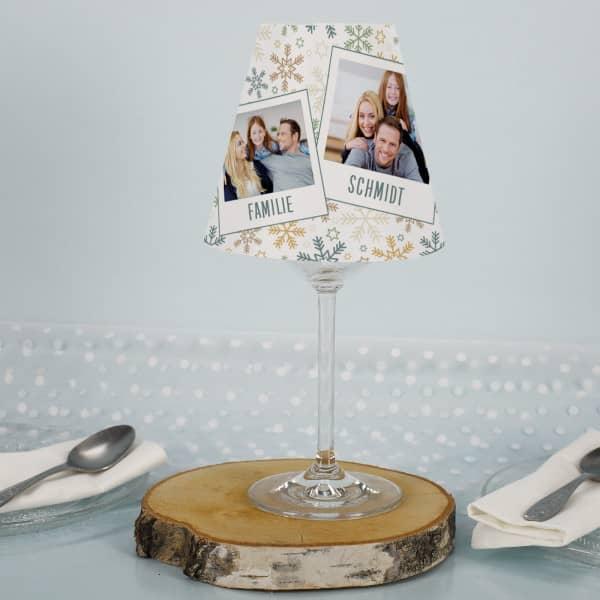 Lampenschirm mit Weinglas zu Weihnachten mit Fotos
