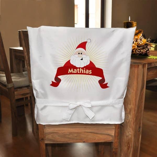 Stuhlhusse Weihnachtsmann mit Namensaufdruck