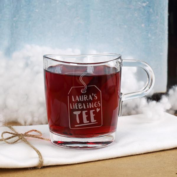 Teeglas graviert mit Lieblingstee Motiv und Name