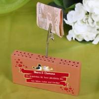 Ziegelstein- Geldclip zur Hochzeit mit Wunschtext