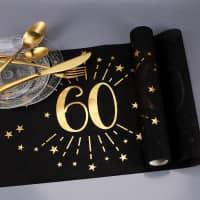 Tischläufer aus Vlies zum 60. Geburtstag - schwarz/gold