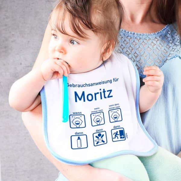 Lätzchen mit lustiger Gebrauchsanweisung für Babys
