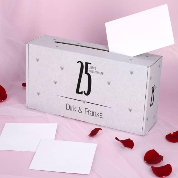 Bedruckte Briefbox zur Silbernen Hochzeit