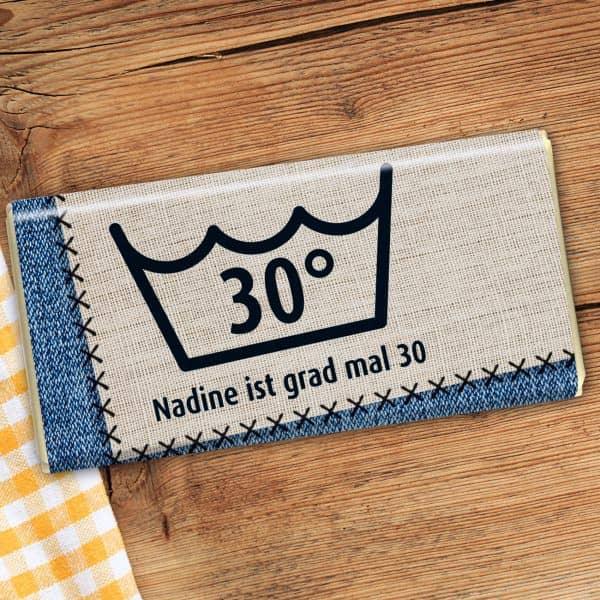 100g Vollmilchschokolade mit Namen und Alter