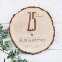 Echtholz Baumscheibe mit Gravur zur Silberhochzeit