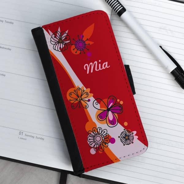 Flipcase für iPhone 5(s) mit Blumenaufdruck