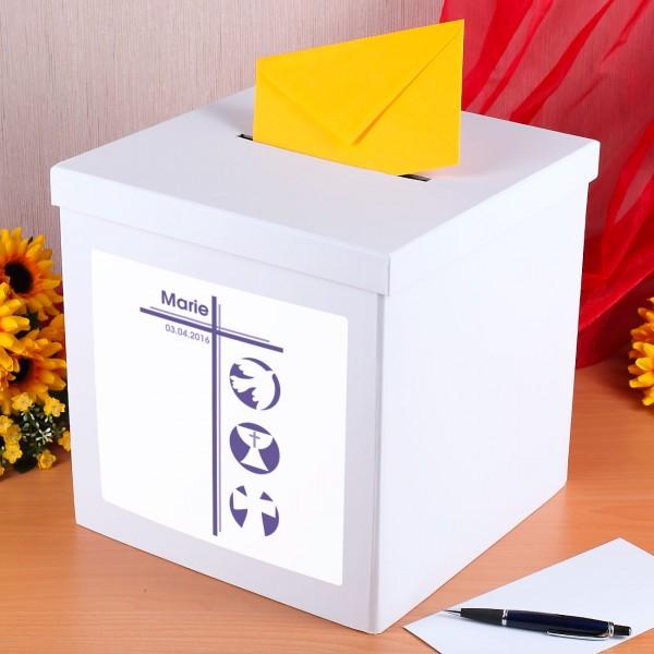 Kartenbox für Mädchen zur Konfirmation mit Namen und Datum