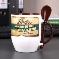 Kaffeetasse mit Löffel für den besten Opa mit Wunschname bedruckt