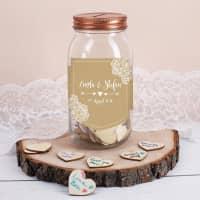 Gästebuch im Glas - Wunschglas mit 120 beschreibbaren Holzherzen