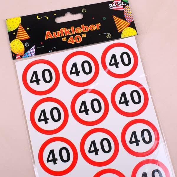 Verkehrszeichen Sticker zum 40. Geburtstag