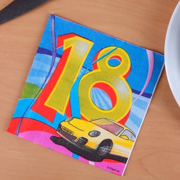 Bunte Servietten zum 18. Geburtstag