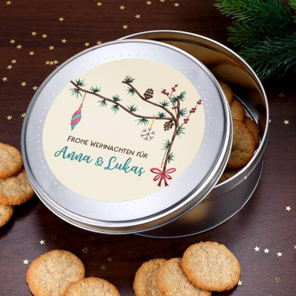 Festliche Geschenkdoese zu Weihnachten mit Wunschtext