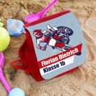 persönlicher Kinderrucksack mit Motorrad-Motiv, Name und Wunschtext