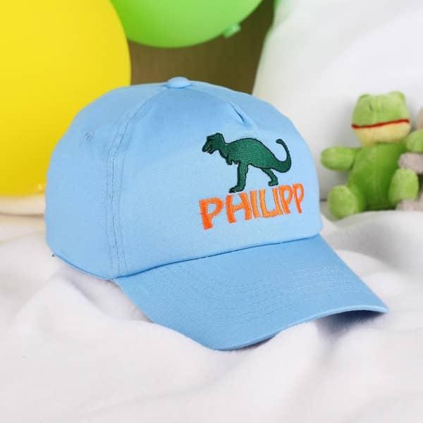 Coole Basecap für Jungen mit Wunschnamen, Dino
