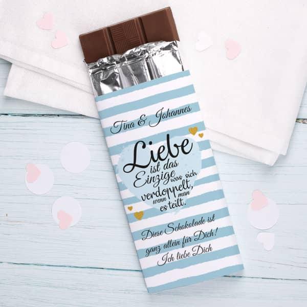 """Schokolade """"Liebe ist..."""" mit Namen und Wunschtext"""