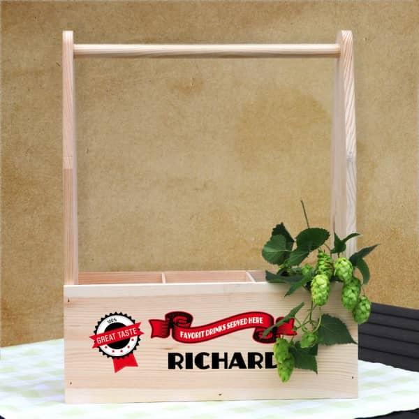 Holzträger als Geschenkverpackung mit Wunschnam...