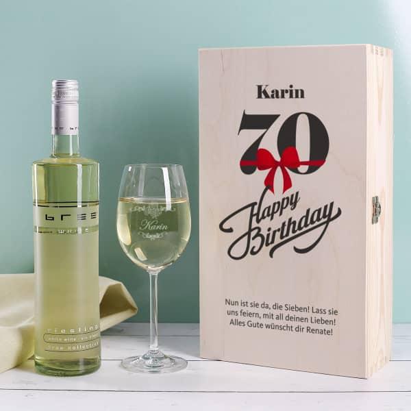 Persönliches Wein Set zum 70. Geburtstag mit graviertem Glas und Flasche