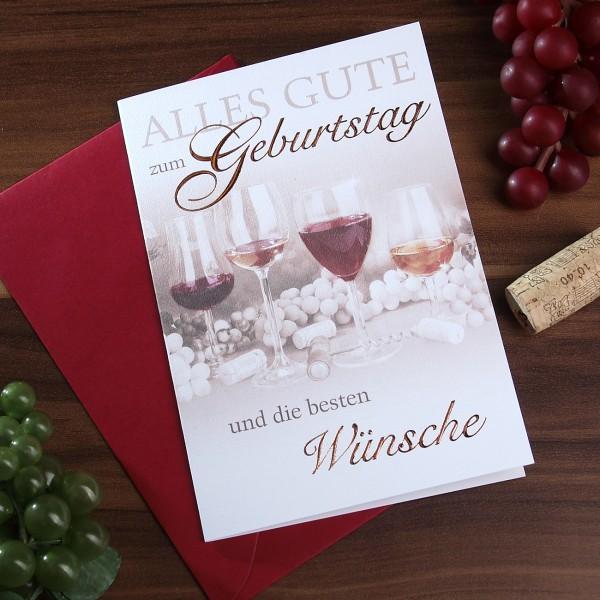 Geburtstagskarte mit Weinmotiv