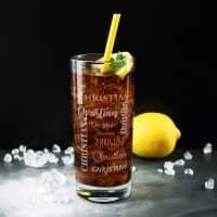 graviertes Trinkglas mit Ihrem Namen in verschiedenen Schriftarten
