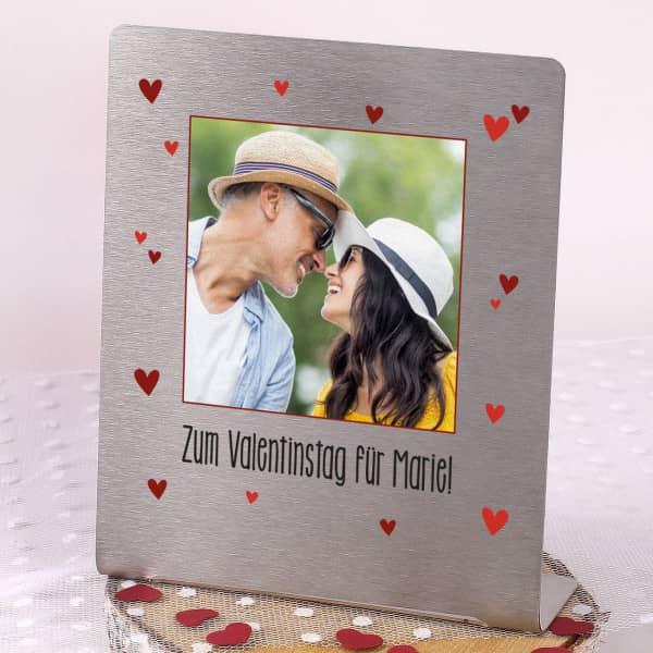 Edelstahl Fotorahmen zum Valentinstag - mit Ihrem Lieblingsfoto und Wunschtext