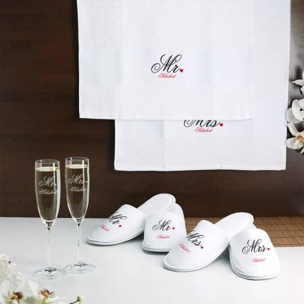 Wellness Set Mr und Mrs zur Hochzeit mit Wunschname
