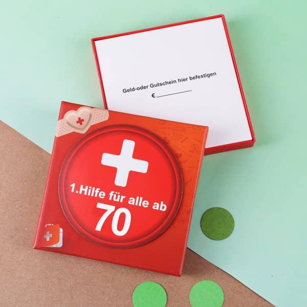 geschenkschachtel 1 hilfe zum 70 geburtstag aus pappe. Black Bedroom Furniture Sets. Home Design Ideas