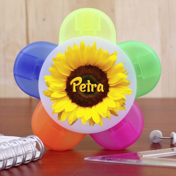 Textmarker mit 5 Farben und Wunschname auf Sonnenblume