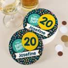 Glasuntersetzer für die Geburtstagsparty bedruckt mit Konfetti Name und Alter