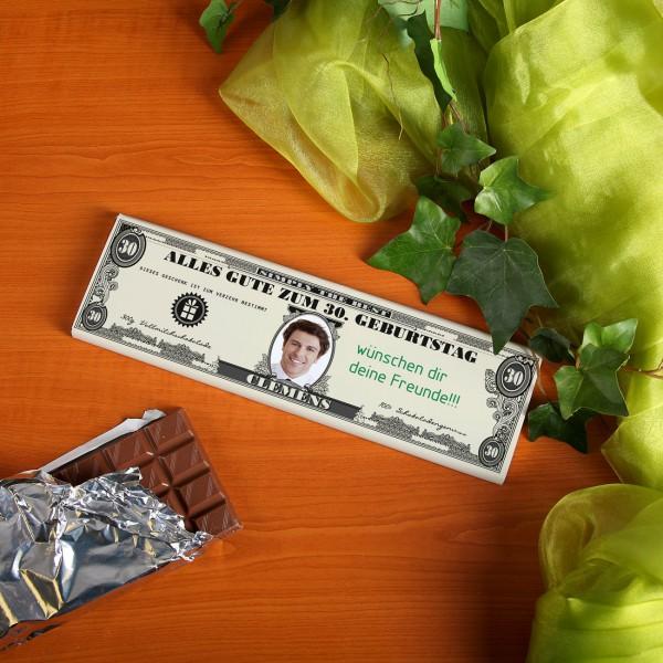 XL Schokolade Dollarnote mit Text und Foto